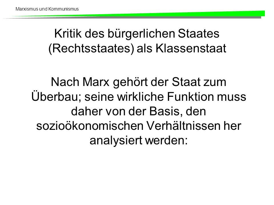 Marxismus und Kommunismus Kritik des bürgerlichen Staates (Rechtsstaates) als Klassenstaat Nach Marx gehört der Staat zum Überbau; seine wirkliche Funktion muss daher von der Basis, den sozioökonomischen Verhältnissen her analysiert werden: