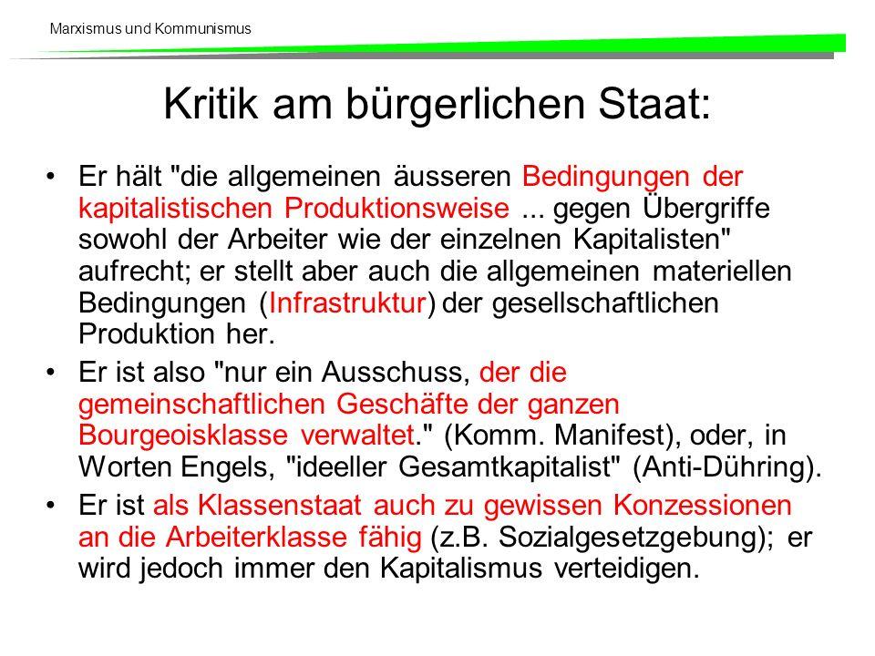 Marxismus und Kommunismus Kritik am bürgerlichen Staat: Er hält die allgemeinen äusseren Bedingungen der kapitalistischen Produktionsweise...