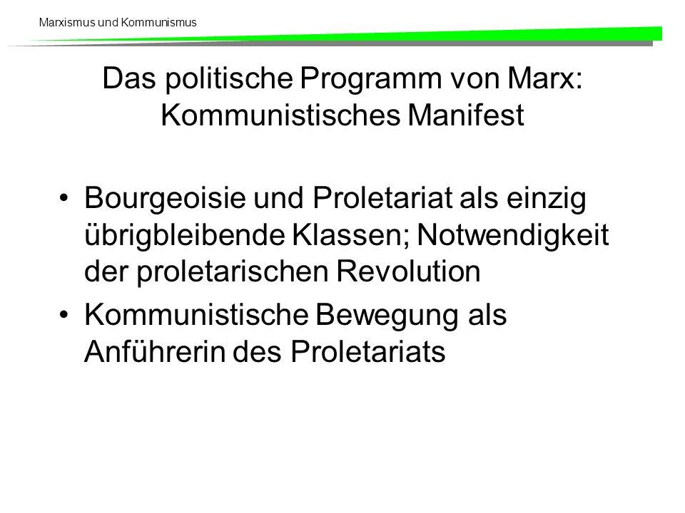 Marxismus und Kommunismus Das politische Programm von Marx: Kommunistisches Manifest Bourgeoisie und Proletariat als einzig übrigbleibende Klassen; Notwendigkeit der proletarischen Revolution Kommunistische Bewegung als Anführerin des Proletariats