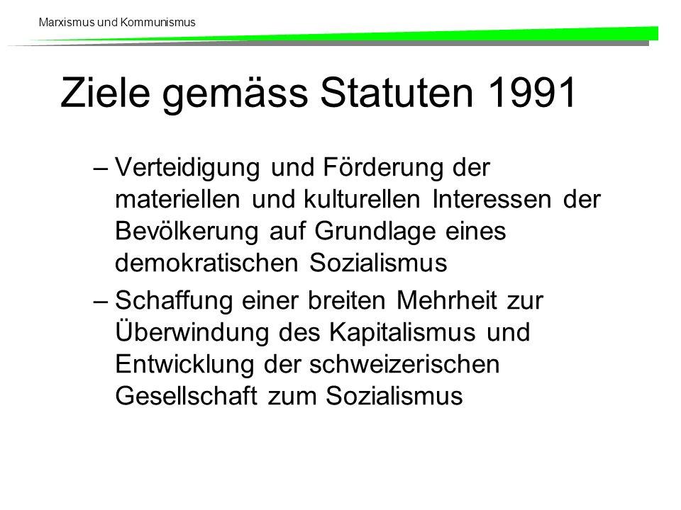 Marxismus und Kommunismus Ziele gemäss Statuten 1991 –Verteidigung und Förderung der materiellen und kulturellen Interessen der Bevölkerung auf Grundlage eines demokratischen Sozialismus –Schaffung einer breiten Mehrheit zur Überwindung des Kapitalismus und Entwicklung der schweizerischen Gesellschaft zum Sozialismus
