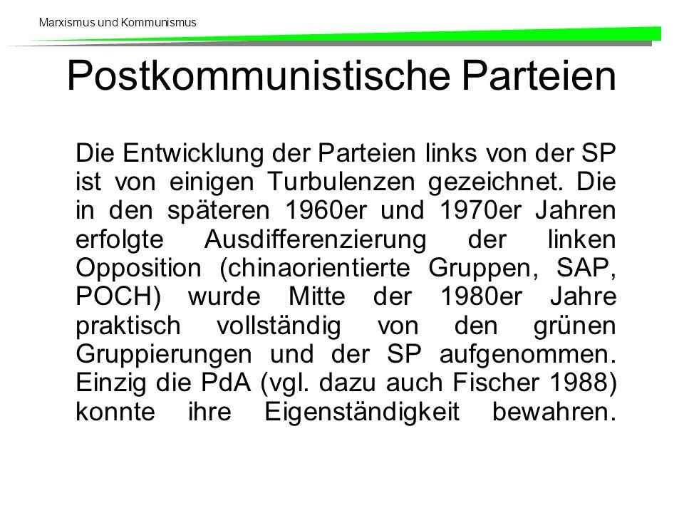Marxismus und Kommunismus Postkommunistische Parteien Die Entwicklung der Parteien links von der SP ist von einigen Turbulenzen gezeichnet.