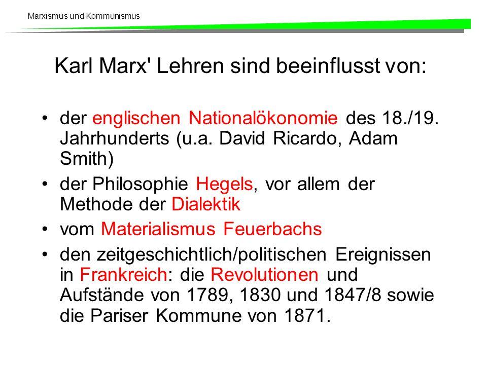 Marxismus und Kommunismus Karl Marx Lehren sind beeinflusst von: der englischen Nationalökonomie des 18./19.
