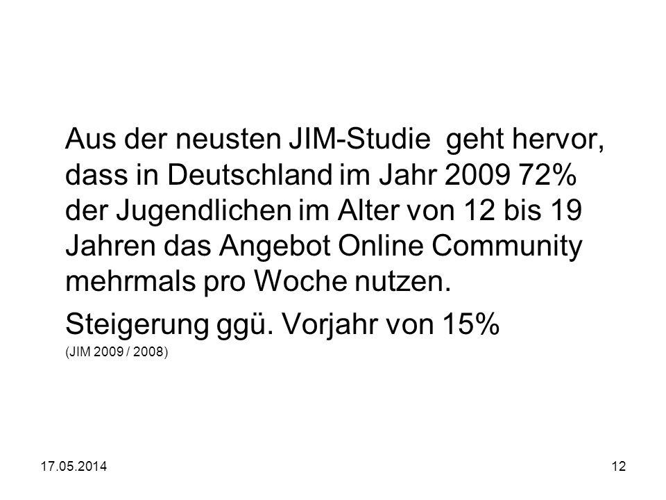 17.05.201412 Aus der neusten JIM-Studie geht hervor, dass in Deutschland im Jahr 2009 72% der Jugendlichen im Alter von 12 bis 19 Jahren das Angebot O