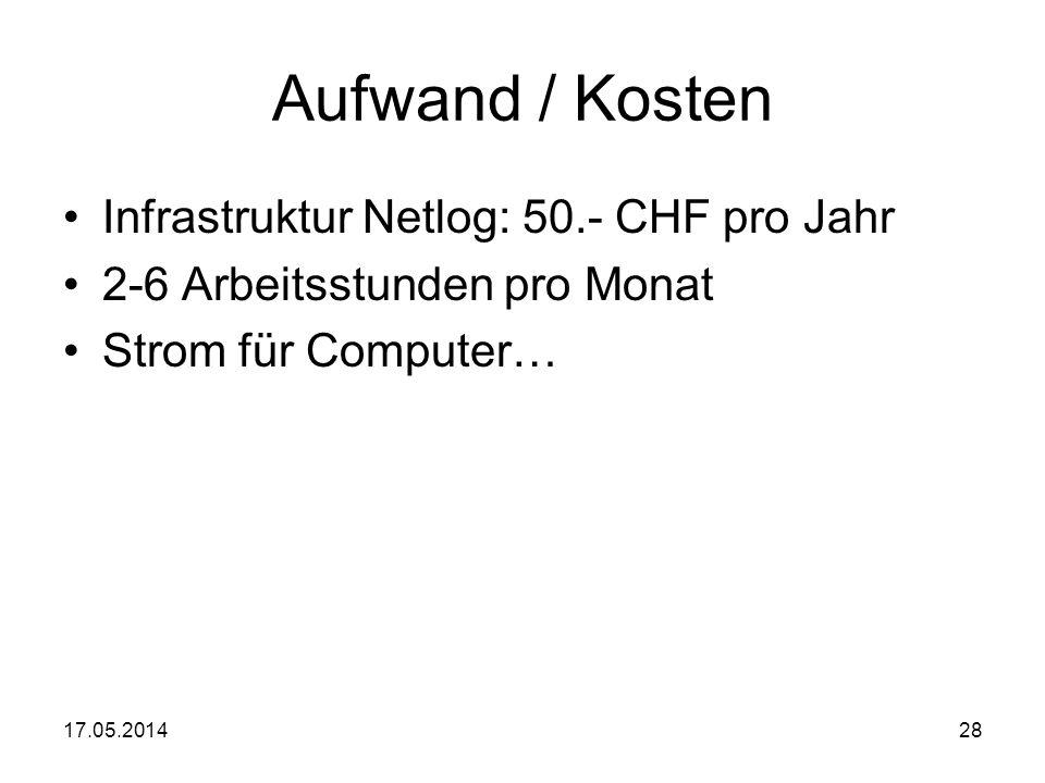 17.05.201428 Aufwand / Kosten Infrastruktur Netlog: 50.- CHF pro Jahr 2-6 Arbeitsstunden pro Monat Strom für Computer…