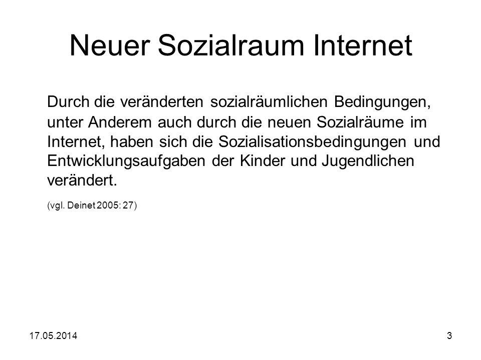 17.05.20143 Neuer Sozialraum Internet Durch die veränderten sozialräumlichen Bedingungen, unter Anderem auch durch die neuen Sozialräume im Internet,