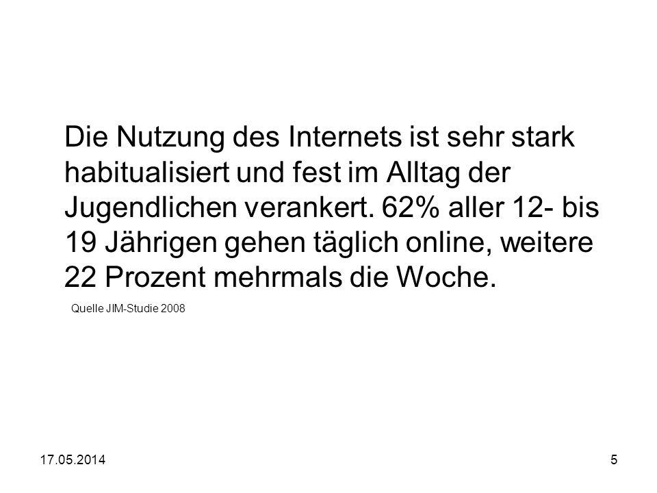 17.05.20145 Die Nutzung des Internets ist sehr stark habitualisiert und fest im Alltag der Jugendlichen verankert. 62% aller 12- bis 19 Jährigen gehen
