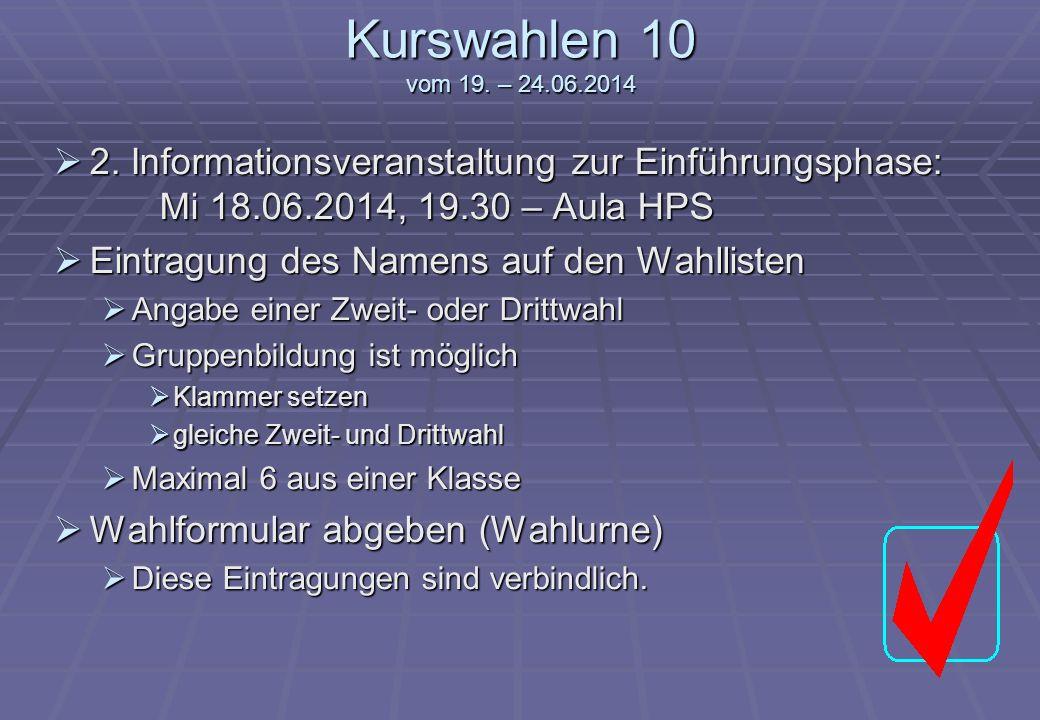 Kurswahlen 10 vom 19. – 24.06.2014 2. Informationsveranstaltung zur Einführungsphase: Mi 18.06.2014, 19.30 – Aula HPS 2. Informationsveranstaltung zur