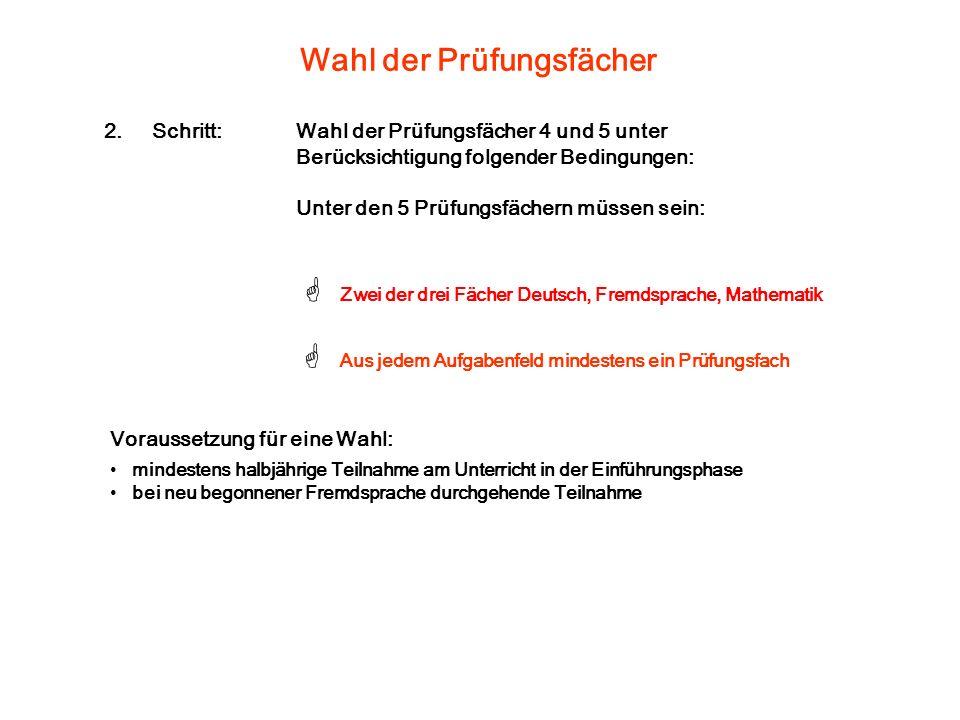 Wahl der Prüfungsfächer Aus jedem Aufgabenfeld mindestens ein Prüfungsfach Zwei der drei Fächer Deutsch, Fremdsprache, Mathematik Voraussetzung für ei