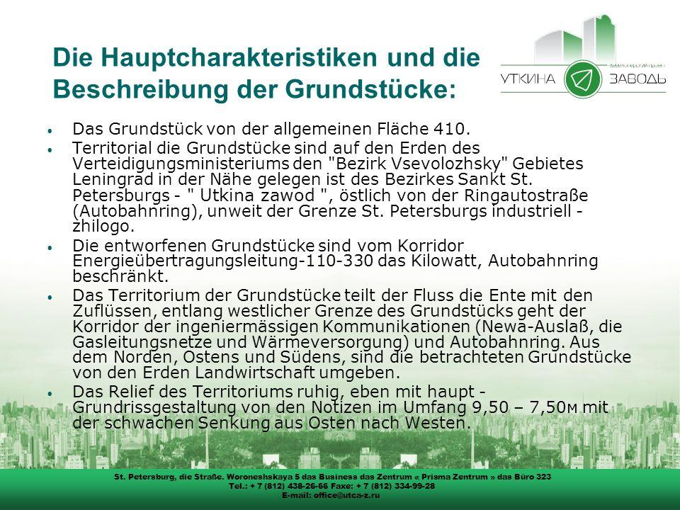 Die Hauptcharakteristiken und die Beschreibung der Grundstücke: Das Grundstück von der allgemeinen Fläche 410.