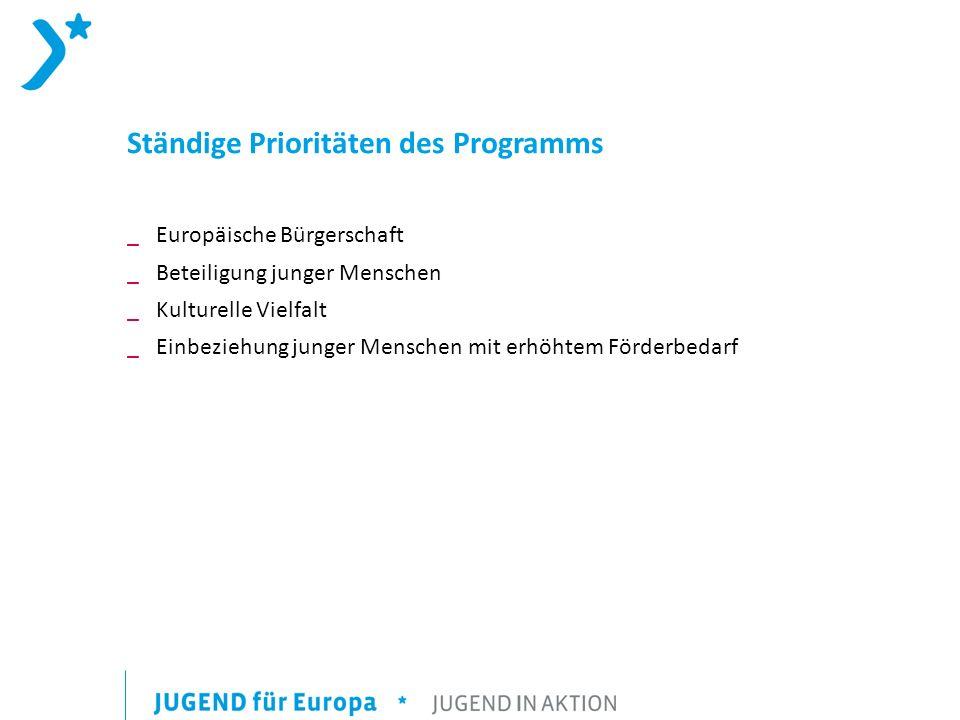 Ständige Prioritäten des Programms _ Europäische Bürgerschaft _ Beteiligung junger Menschen _ Kulturelle Vielfalt _ Einbeziehung junger Menschen mit erhöhtem Förderbedarf