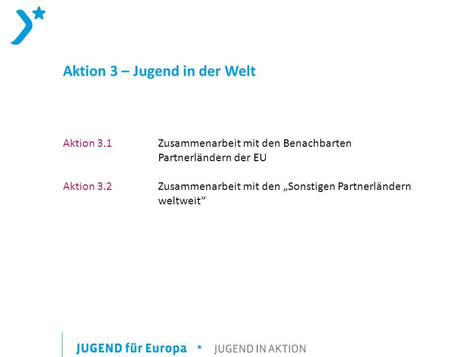 Aktion 3 – Jugend in der Welt Aktion 3.1 Zusammenarbeit mit den Benachbarten Partnerländern der EU Aktion 3.2 Zusammenarbeit mit den Sonstigen Partnerländern weltweit