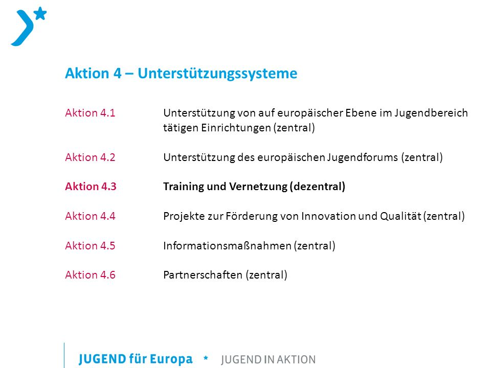 Aktion 4 – Unterstützungssysteme Aktion 4.1 Unterstützung von auf europäischer Ebene im Jugendbereich tätigen Einrichtungen (zentral) Aktion 4.2 Unterstützung des europäischen Jugendforums (zentral) Aktion 4.3Training und Vernetzung (dezentral) Aktion 4.4Projekte zur Förderung von Innovation und Qualität (zentral) Aktion 4.5Informationsmaßnahmen (zentral) Aktion 4.6 Partnerschaften (zentral)
