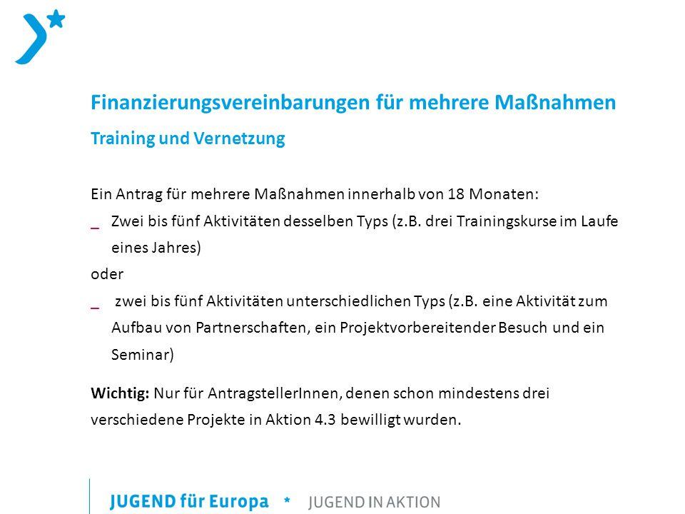 Finanzierungsvereinbarungen für mehrere Maßnahmen Training und Vernetzung Ein Antrag für mehrere Maßnahmen innerhalb von 18 Monaten: _Zwei bis fünf Aktivitäten desselben Typs (z.B.