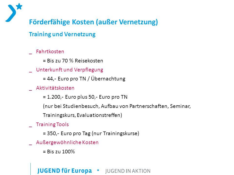 Förderfähige Kosten (außer Vernetzung) Training und Vernetzung _Fahrtkosten = Bis zu 70 % Reisekosten _ Unterkunft und Verpflegung = 44,- Euro pro TN / Übernachtung _ Aktivitätskosten = 1.200,- Euro plus 50,- Euro pro TN (nur bei Studienbesuch, Aufbau von Partnerschaften, Seminar, Trainingskurs, Evaluationstreffen) _ Training Tools = 350,- Euro pro Tag (nur Trainingskurse) _ Außergewöhnliche Kosten = Bis zu 100%