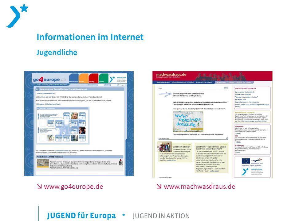 Informationen im Internet Jugendliche www.go4europe.de www.machwasdraus.de