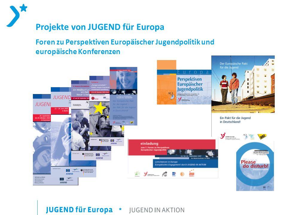 Projekte von JUGEND für Europa Foren zu Perspektiven Europäischer Jugendpolitik und europäische Konferenzen