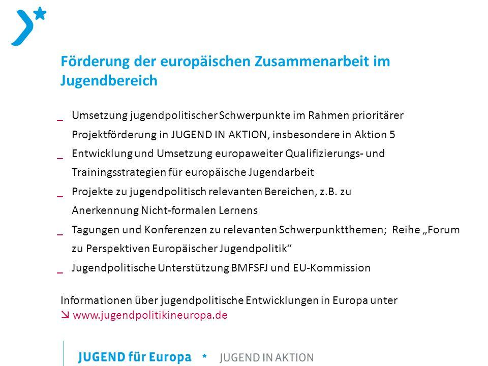 Förderung der europäischen Zusammenarbeit im Jugendbereich _Umsetzung jugendpolitischer Schwerpunkte im Rahmen prioritärer Projektförderung in JUGEND IN AKTION, insbesondere in Aktion 5 _ Entwicklung und Umsetzung europaweiter Qualifizierungs- und Trainingsstrategien für europäische Jugendarbeit _ Projekte zu jugendpolitisch relevanten Bereichen, z.B.