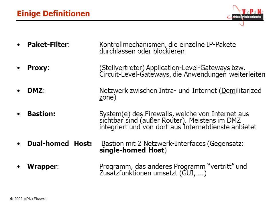 Einige Definitionen Paket-Filter:Kontrollmechanismen, die einzelne IP-Pakete durchlassen oder blockieren Proxy:(Stellvertreter) Application-Level-Gateways bzw.