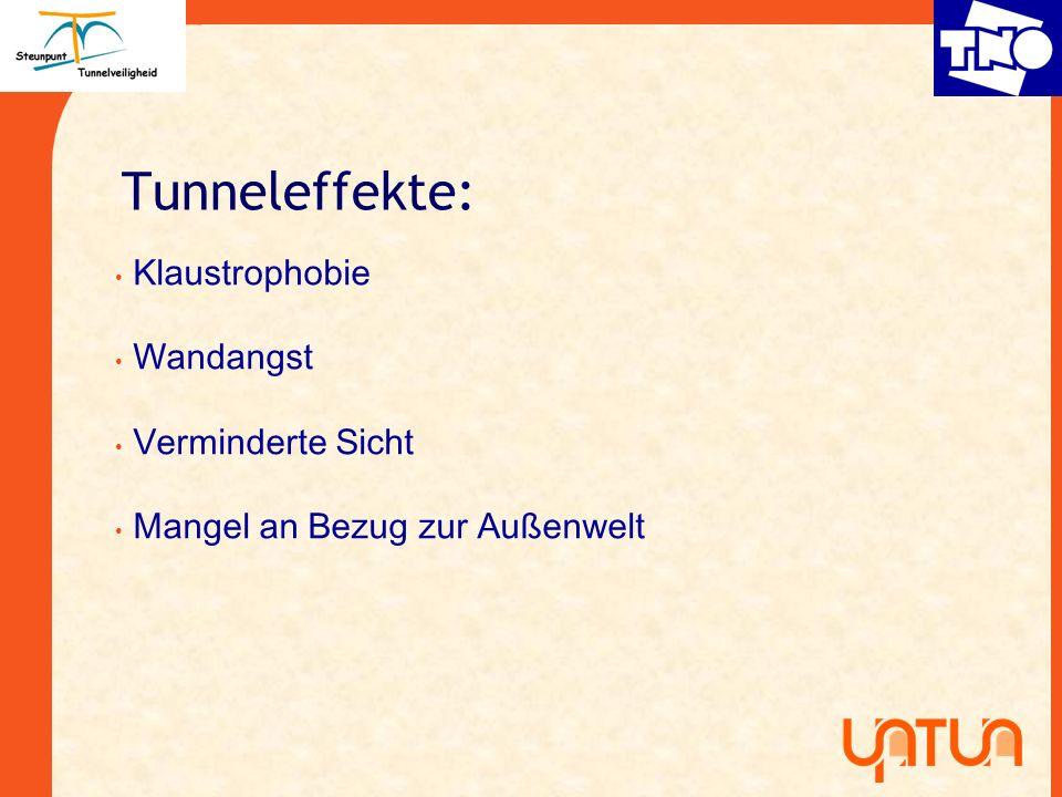 Tunneleffekte: Klaustrophobie Wandangst Verminderte Sicht Mangel an Bezug zur Au ß enwelt