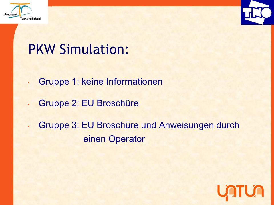 PKW Simulation: Gruppe 1: keine Informationen Gruppe 2: EU Brosch ü re Gruppe 3: EU Brosch ü re und Anweisungen durch einen Operator