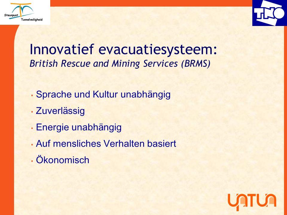 Innovatief evacuatiesysteem: British Rescue and Mining Services (BRMS) Sprache und Kultur unabh ä ngig Zuverl ä ssig Energie unabh ä ngig Auf menslich