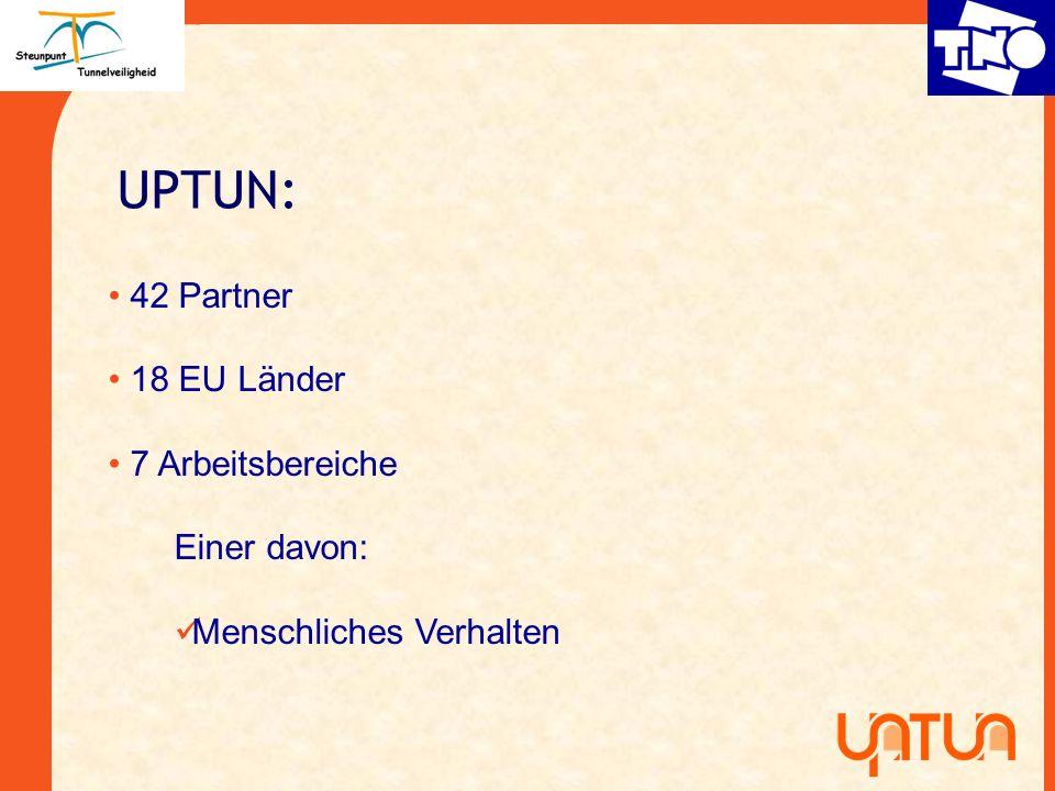 UPTUN: 42 Partner 18 EU Länder 7 Arbeitsbereiche Einer davon: Menschliches Verhalten