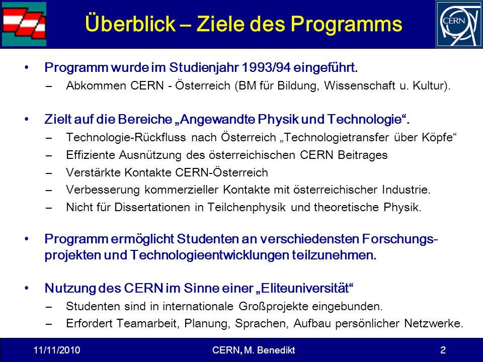 2 Überblick – Ziele des Programms Programm wurde im Studienjahr 1993/94 eingeführt.