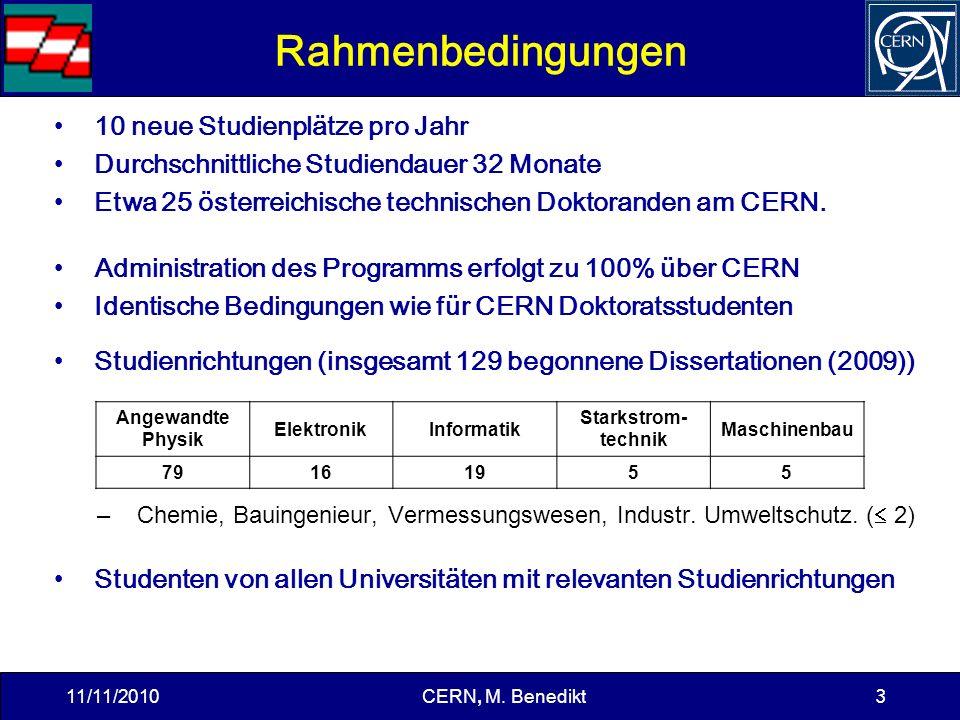 3 Rahmenbedingungen 10 neue Studienplätze pro Jahr Durchschnittliche Studiendauer 32 Monate Etwa 25 österreichische technischen Doktoranden am CERN.