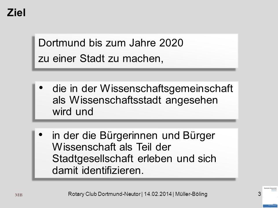 Rotary Club Dortmund-Neutor | 14.02.2014 | Müller-Böling3 Ziel Dortmund bis zum Jahre 2020 zu einer Stadt zu machen, Dortmund bis zum Jahre 2020 zu ei
