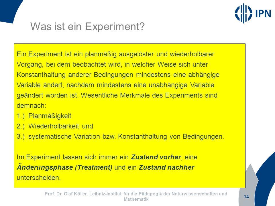 14 Prof. Dr. Olaf Köller, Leibniz-Institut für die Pädagogik der Naturwissenschaften und Mathematik Was ist ein Experiment? Ein Experiment ist ein pla