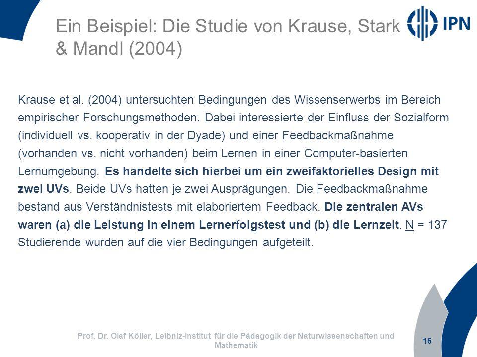 16 Prof. Dr. Olaf Köller, Leibniz-Institut für die Pädagogik der Naturwissenschaften und Mathematik Ein Beispiel: Die Studie von Krause, Stark & Mandl