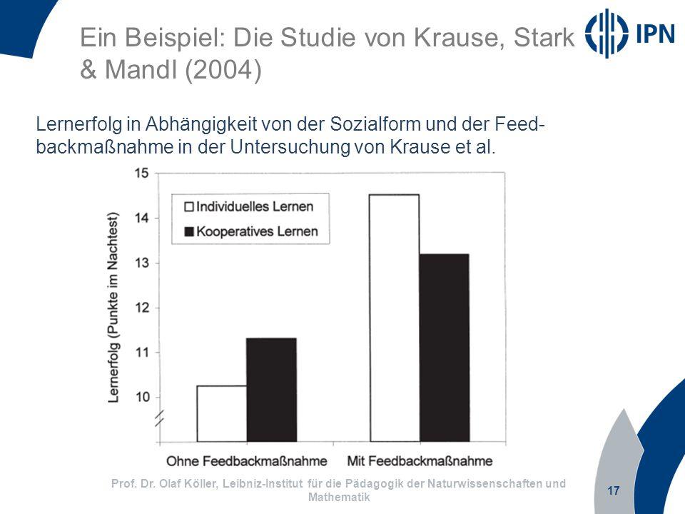 17 Prof. Dr. Olaf Köller, Leibniz-Institut für die Pädagogik der Naturwissenschaften und Mathematik Lernerfolg in Abhängigkeit von der Sozialform und