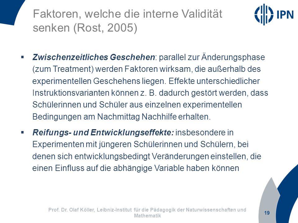 19 Prof. Dr. Olaf Köller, Leibniz-Institut für die Pädagogik der Naturwissenschaften und Mathematik Faktoren, welche die interne Validität senken (Ros