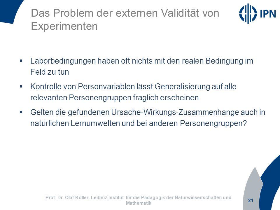 21 Prof. Dr. Olaf Köller, Leibniz-Institut für die Pädagogik der Naturwissenschaften und Mathematik Das Problem der externen Validität von Experimente
