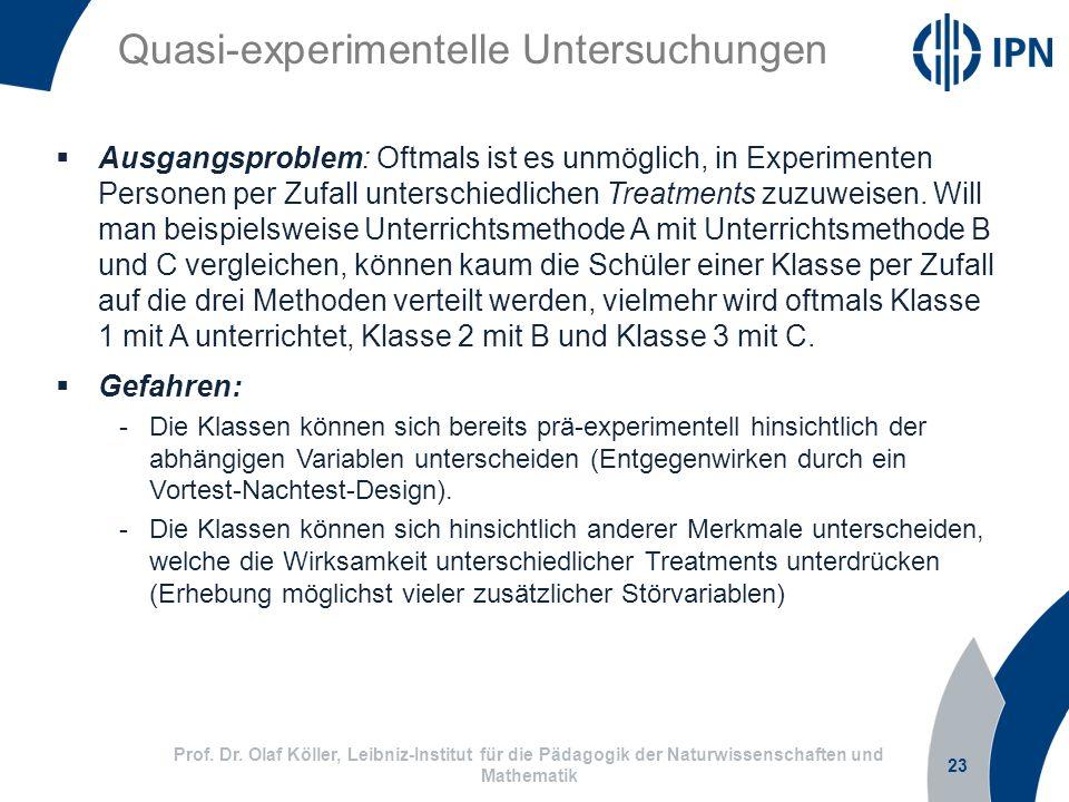 23 Prof. Dr. Olaf Köller, Leibniz-Institut für die Pädagogik der Naturwissenschaften und Mathematik Quasi-experimentelle Untersuchungen Ausgangsproble
