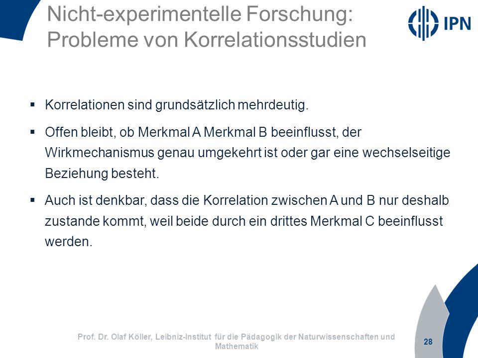 Nicht-experimentelle Forschung: Probleme von Korrelationsstudien 28 Prof. Dr. Olaf Köller, Leibniz-Institut für die Pädagogik der Naturwissenschaften