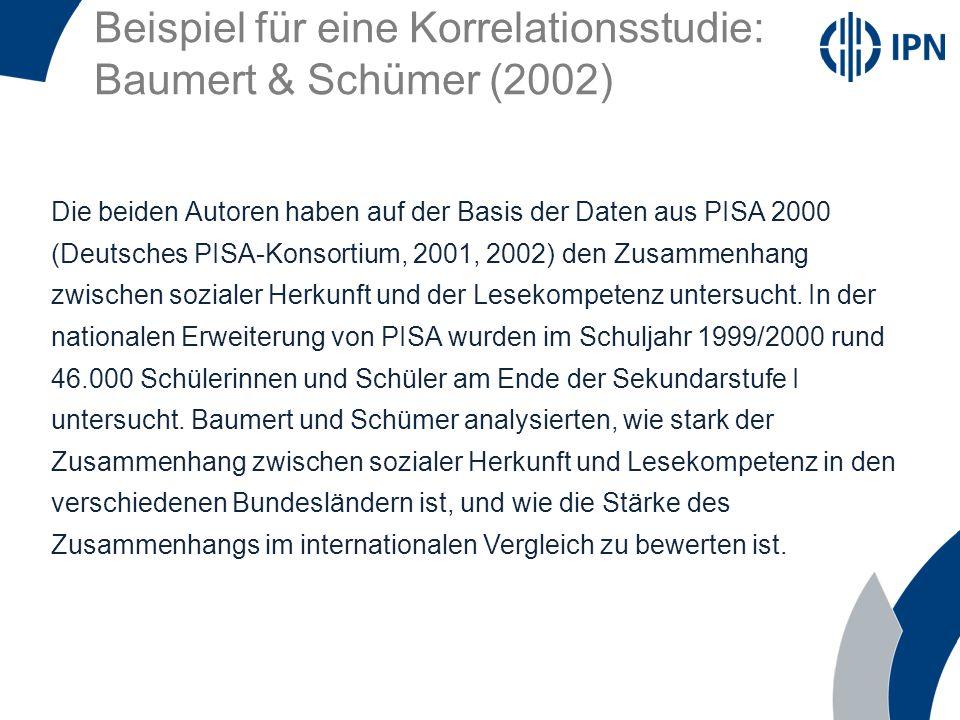 Beispiel für eine Korrelationsstudie: Baumert & Schümer (2002) Die beiden Autoren haben auf der Basis der Daten aus PISA 2000 (Deutsches PISA-Konsorti