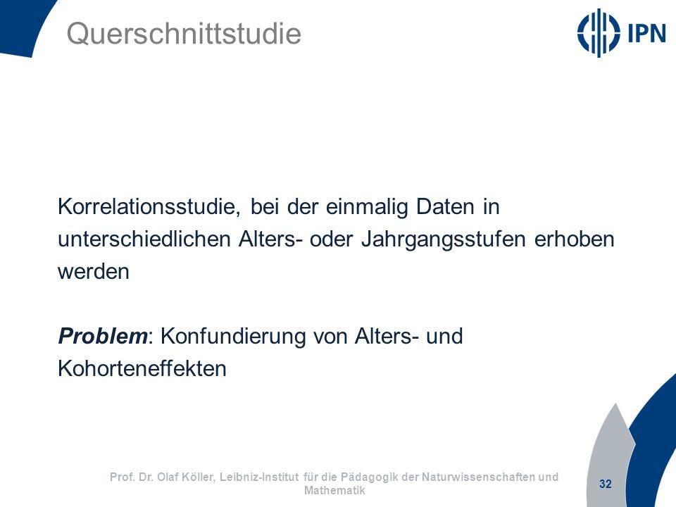 Querschnittstudie 32 Prof. Dr. Olaf Köller, Leibniz-Institut für die Pädagogik der Naturwissenschaften und Mathematik Korrelationsstudie, bei der einm