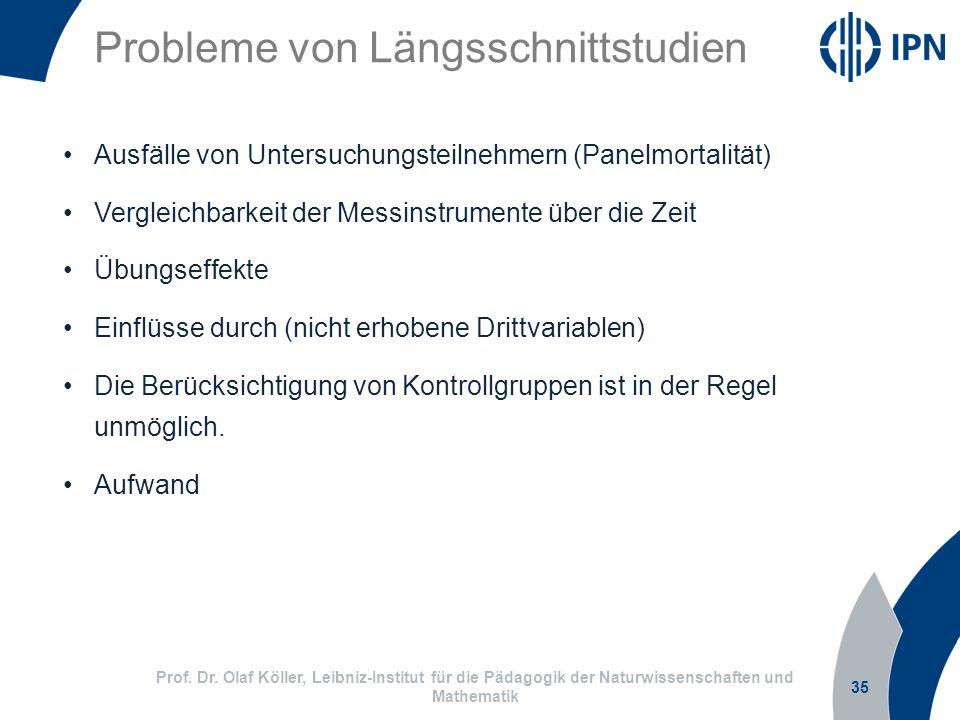 Probleme von Längsschnittstudien 35 Prof. Dr. Olaf Köller, Leibniz-Institut für die Pädagogik der Naturwissenschaften und Mathematik Ausfälle von Unte