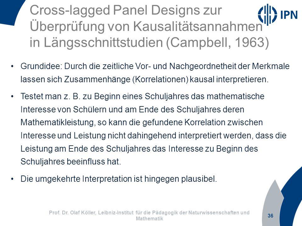 Cross-lagged Panel Designs zur Überprüfung von Kausalitätsannahmen in Längsschnittstudien (Campbell, 1963) 36 Prof. Dr. Olaf Köller, Leibniz-Institut
