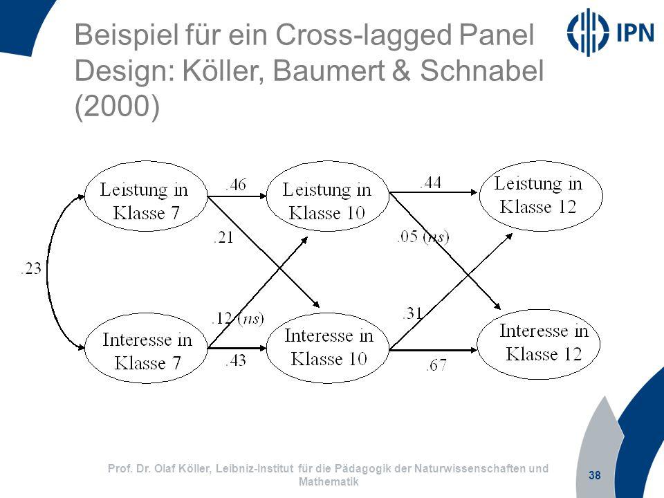 38 Prof. Dr. Olaf Köller, Leibniz-Institut für die Pädagogik der Naturwissenschaften und Mathematik Beispiel für ein Cross-lagged Panel Design: Köller