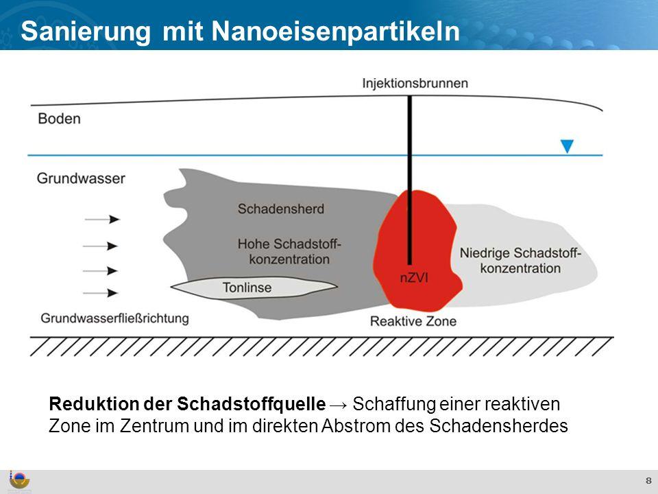 Effekte und Verhalten von TiO 2 Nanopartikeln in der aquatischen Umwelt 8 Sanierung mit Nanoeisenpartikeln Reduktion der Schadstoffquelle Schaffung einer reaktiven Zone im Zentrum und im direkten Abstrom des Schadensherdes