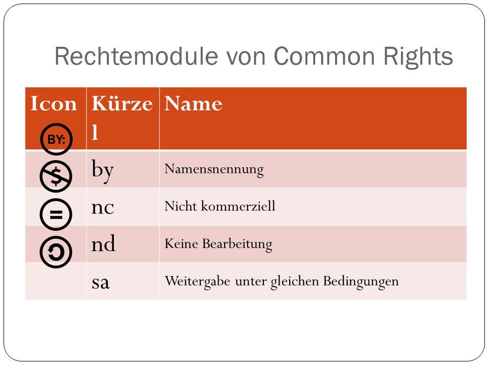 Rechtemodule von Common Rights IconKürze l Name by Namensnennung nc Nicht kommerziell nd Keine Bearbeitung sa Weitergabe unter gleichen Bedingungen
