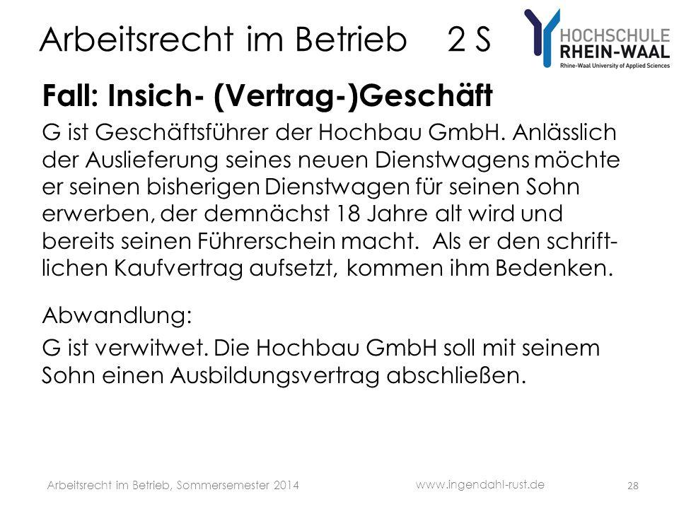 Arbeitsrecht im Betrieb 2 S Fall: Insich- (Vertrag-)Geschäft G ist Geschäftsführer der Hochbau GmbH.