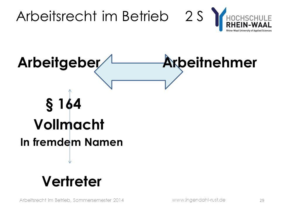 Arbeitsrecht im Betrieb 2 S Arbeitgeber Arbeitnehmer § 164 Vollmacht In fremdem Namen Vertreter 29 www.ingendahl-rust.de Arbeitsrecht im Betrieb, Sommersemester 2014