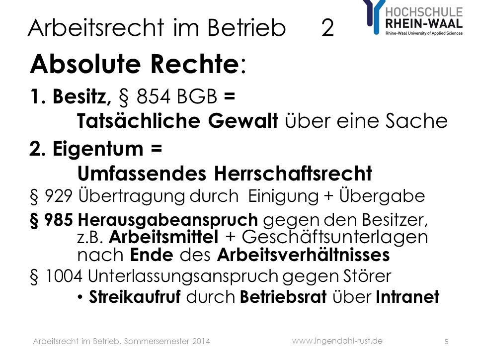 Arbeitsrecht im Betrieb 2 Absolute Rechte : 1.