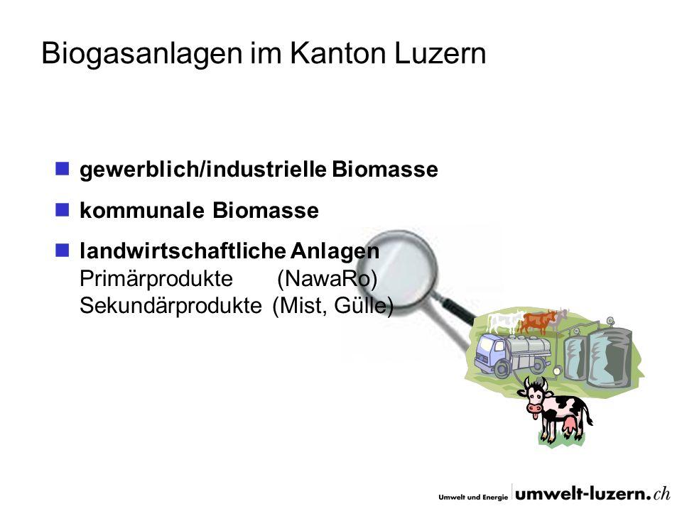 Biogasanlagen im Kanton Luzern gewerblich/industrielle Biomasse kommunale Biomasse landwirtschaftliche Anlagen Primärprodukte (NawaRo) Sekundärprodukt
