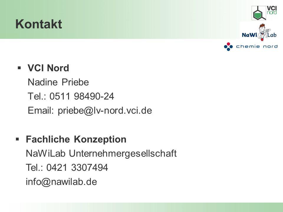 Kontakt VCI Nord Nadine Priebe Tel.: 0511 98490-24 Email: priebe@lv-nord.vci.de Fachliche Konzeption NaWiLab Unternehmergesellschaft Tel.: 0421 330749