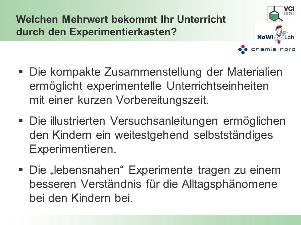 Welchen Mehrwert bekommt Ihr Unterricht durch den Experimentierkasten? Die kompakte Zusammenstellung der Materialien ermöglicht experimentelle Unterri