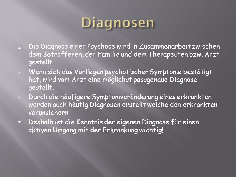 Die Diagnose einer Psychose wird in Zusammenarbeit zwischen dem Betroffenen, der Familie und dem Therapeuten bzw. Arzt gestellt. Wenn sich das Vorlieg